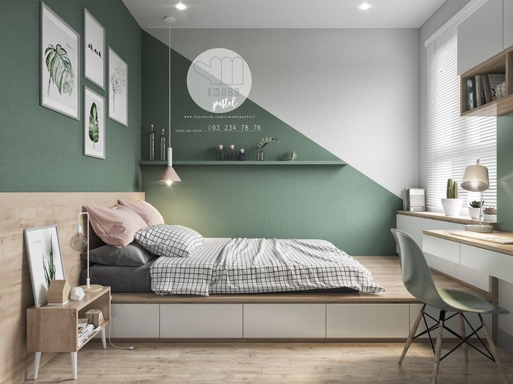 Colorful interior with connection: Green, Coral, Blue & Yellow - #amp #Blue #Colour ...