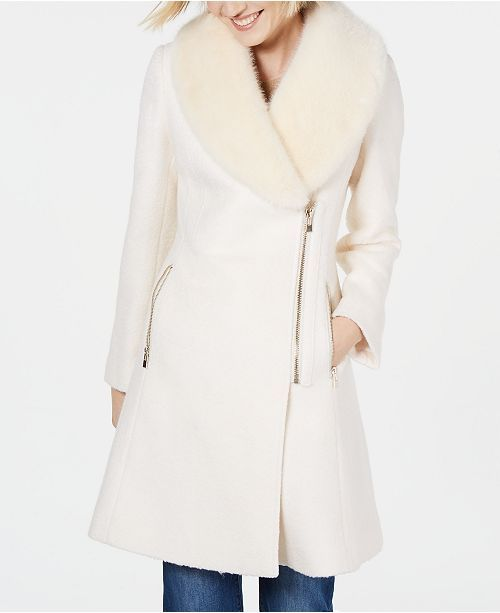 INC International Concepts I.N.C. Faux-Fur-Trim Asymmetrical Walker Coat, Create...