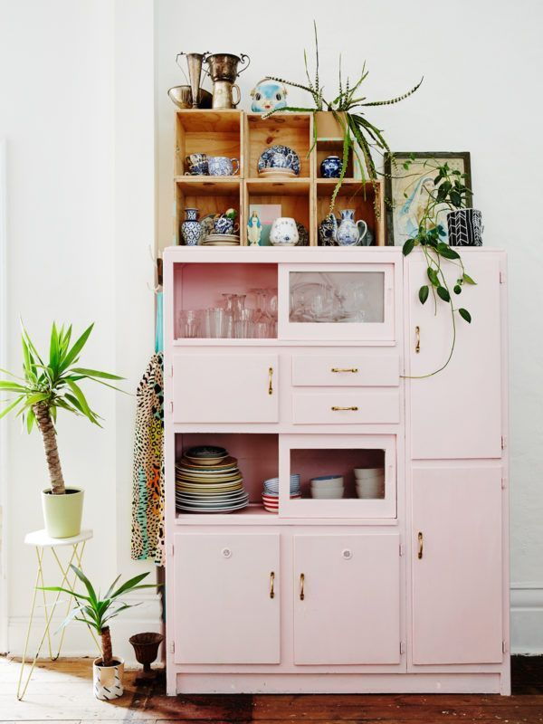A pastel pink kitchen cabinet in Peter and Paula Mills home in Melbourne on The ...