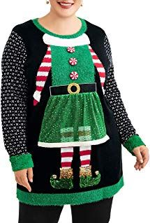 Christmas Elf Costume Sequin Black Plus Size Pullover Tunic Sweater >>> You can ...
