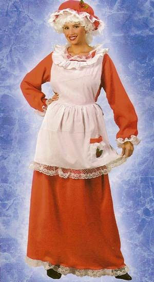 Red and White Mrs. Santa Claus Women Adult Christmas Costume - One Size