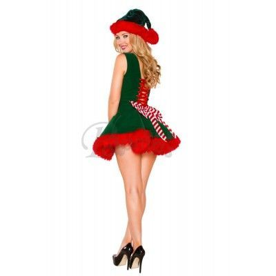 Adult Women Santa's Helper Costume Green and Red Hairy Christmas Dress