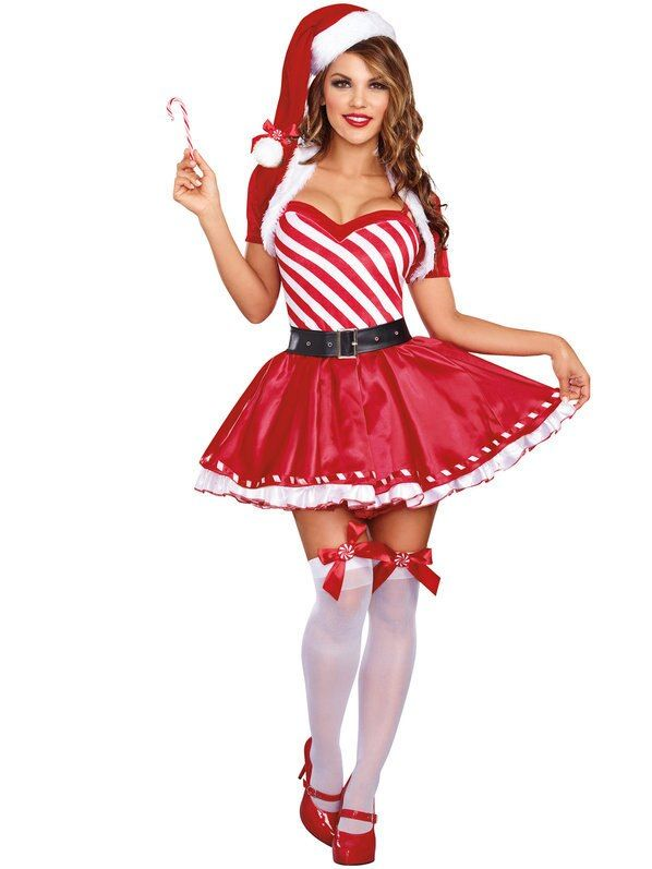 4pc/Set Christmas Santa Claus Women Costume Xmas Striped Dress with Hat and Belt...