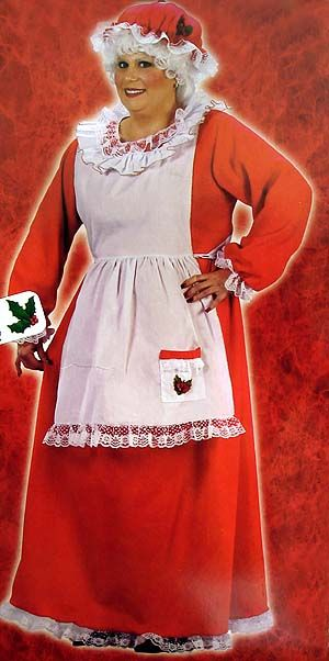 Red and White Plush Mrs. Santa Claus Women Adult Christmas Costume - Plus Size