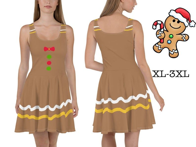 Gingerbread Man Dress Women Christmas Costume Cosplay Skater Fitted CooKie Spicy Ginger Boy Dough Bread Spandex Sleeveless Outfit Party Gift