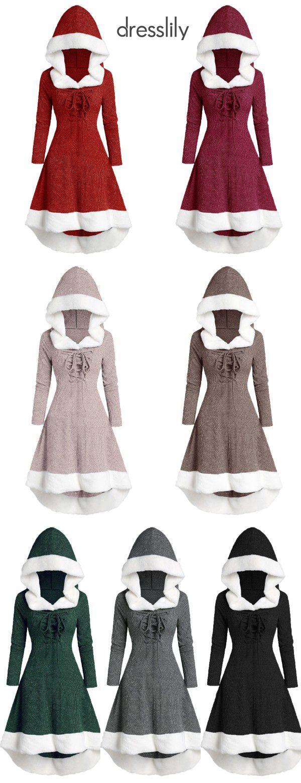 $23.99 Hooded Lace Up Faux Fur Panel Marled Asymmetrical Dress
