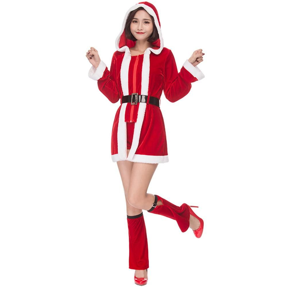 Cosplay Santa Claus costumes sweetheart candy Christmas dress party Christmas costumes women hooded sexy dress suit costume