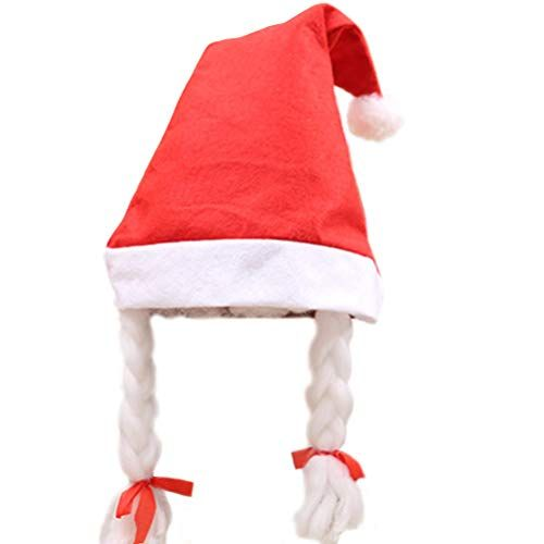 Jylfp 2 pcs women christmas hat with braid santa hat adults red liner christmas costume