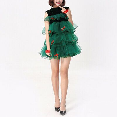 Green Christmas Tree Costume Women Cosplay Party Xmas Sexy Tulle Tutu Dress Cute...