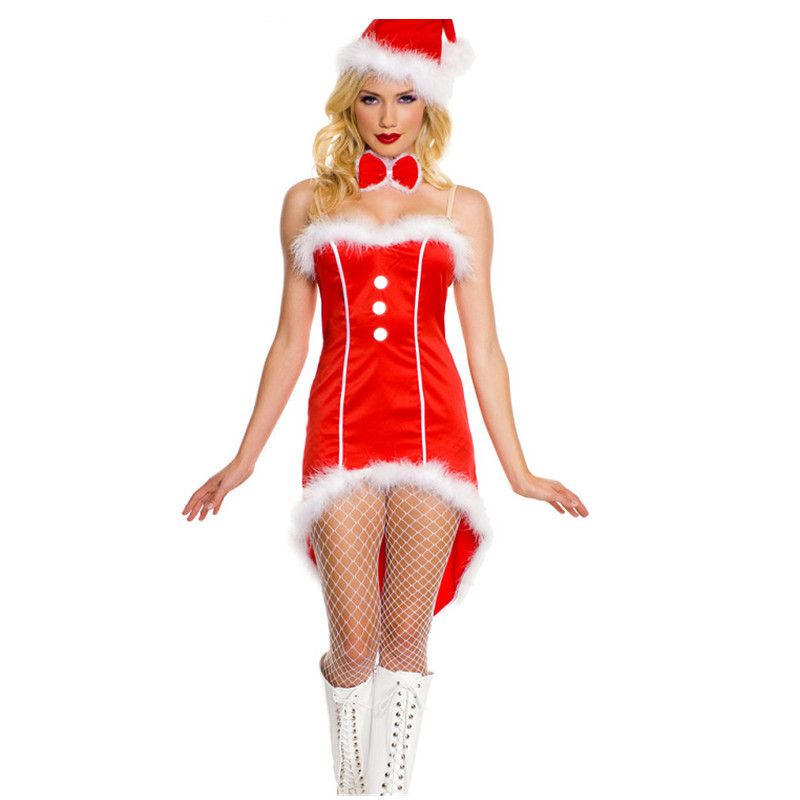 3PCS 2016 Fashion Christmas new year women valentine's day gift Christmas Dress Sexy Ladies Red Santa Costume Women Mrs Party - SMS - F A S H I O N