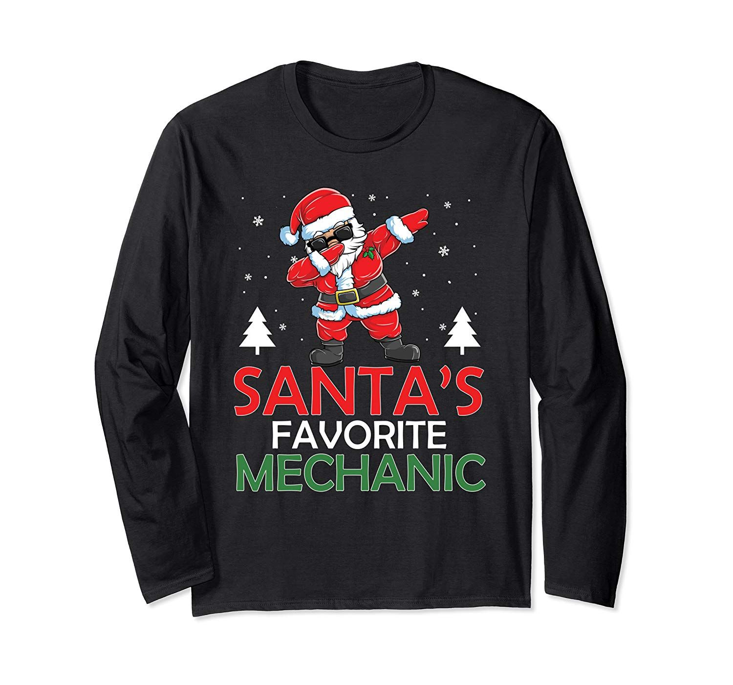 Funny Santa's Favorite Mechanic Christmas Costume Xmas Gifts Long Sleeve T-Shirt