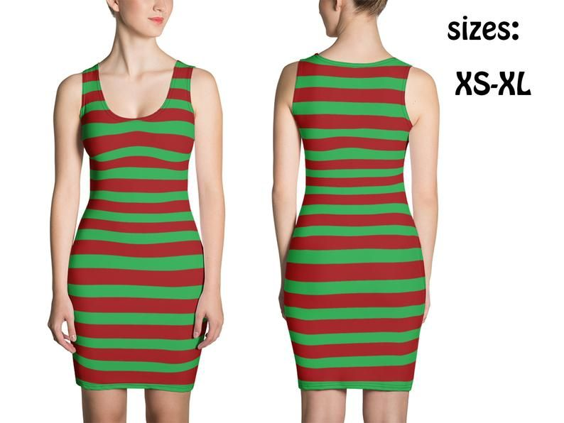 Striped Elf Dress Women Christmas Fitted Costume Cosplay Bodycon Skirt Red Green Stripes Spandex Sleeveless Sexy Soft Elves Party Gift
