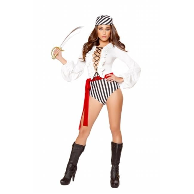Roma Costume 10073-AS-L 3 Piece Pirate Scoundrel Adult Costume, Black, White & Red - Large