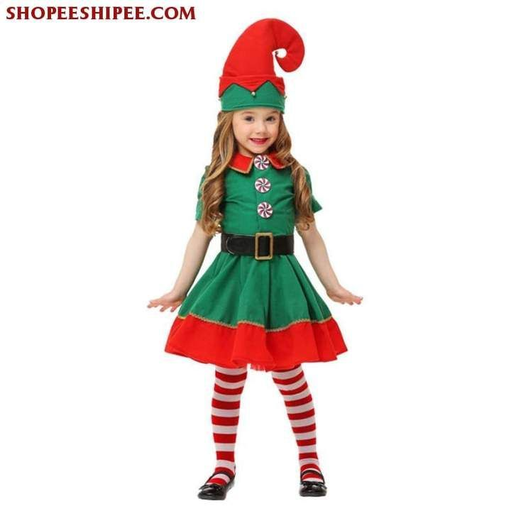 2018 Women Men Boy Girl Christmas Elf Costume Kids Adults Family Green Elf Cosplay Costumes Carnival for Party Supplies Purim - Kids Ideas